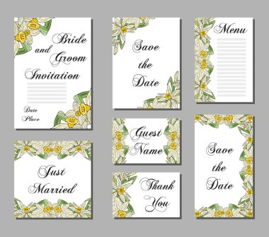 Wedding invitations, hand drawn flowers narcissus. Set of wedding cards.