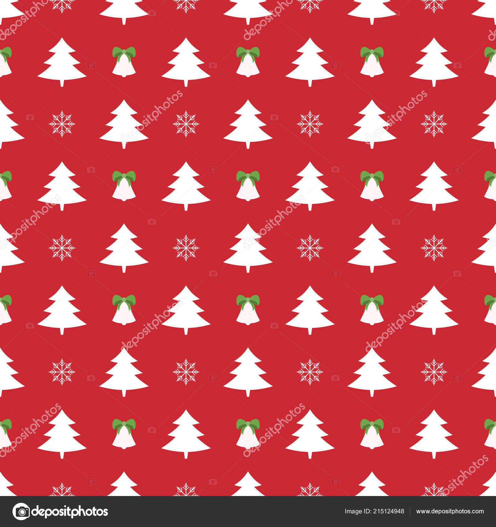 Geschenkpapier Weihnachten.Weihnachtsbaum Und Schneeflocken Muster Glocken Hintergrund