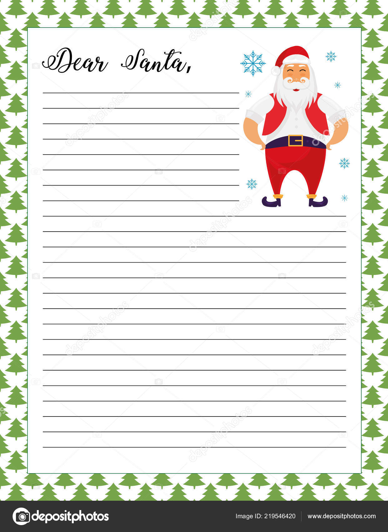 picture relating to Letters to Santa Templates Free Printable identify Letter Santa Template Printable Web page Xmas Tree Items