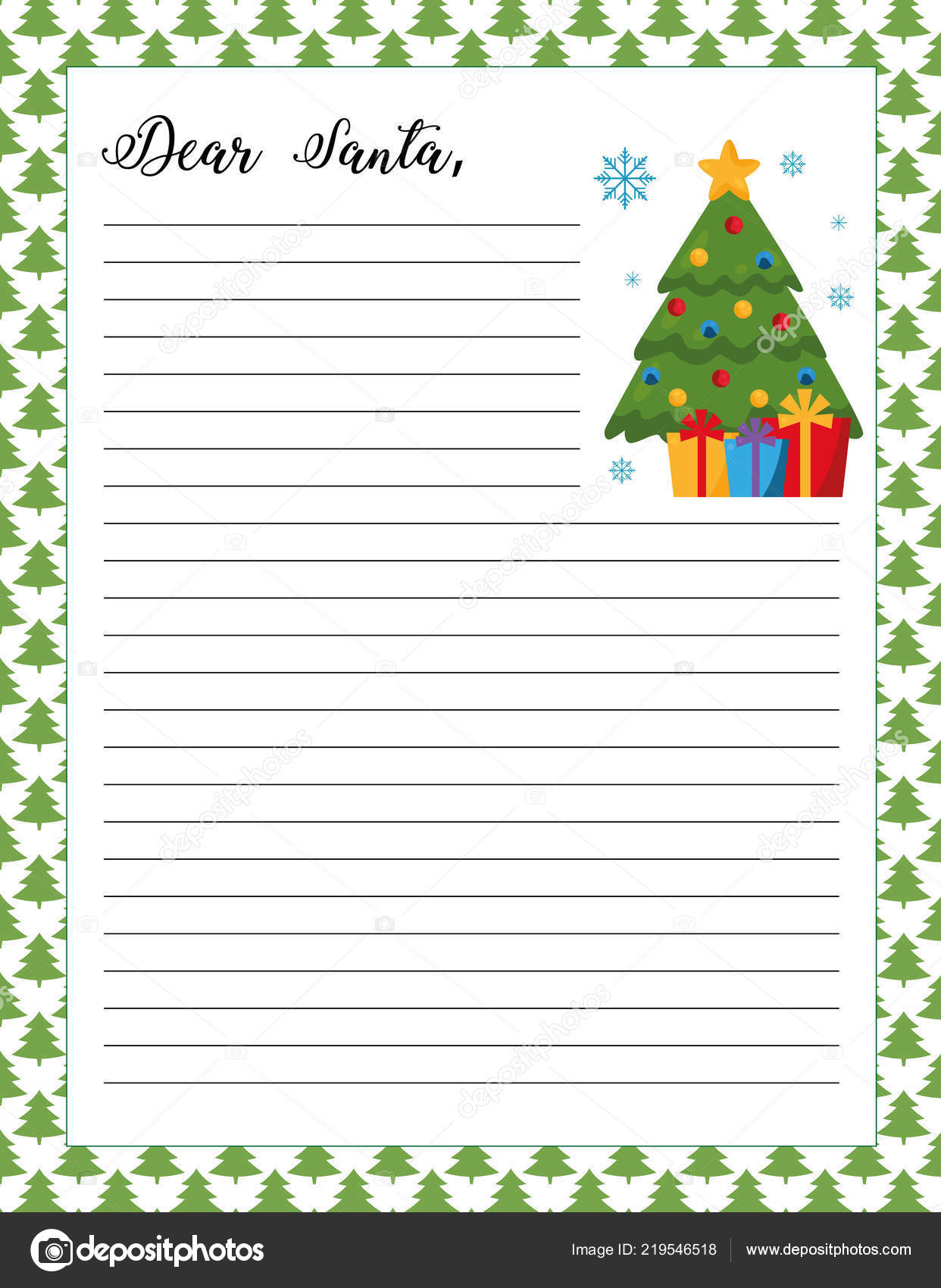 letter santa template printable page christmas tree gifts festive