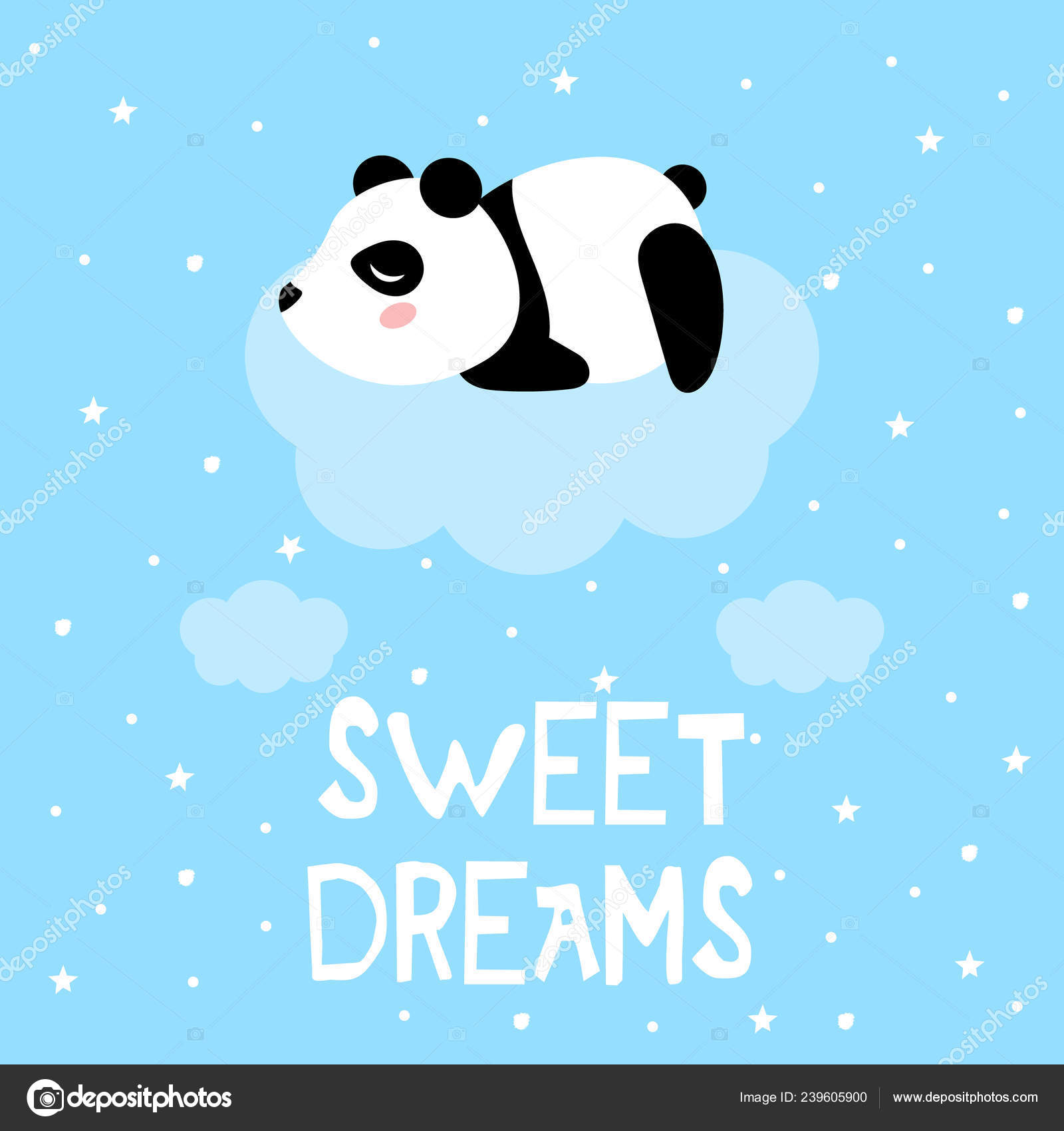 Cartoon Panda Cute Clouds Vector Print Stock Vector C Melanierom