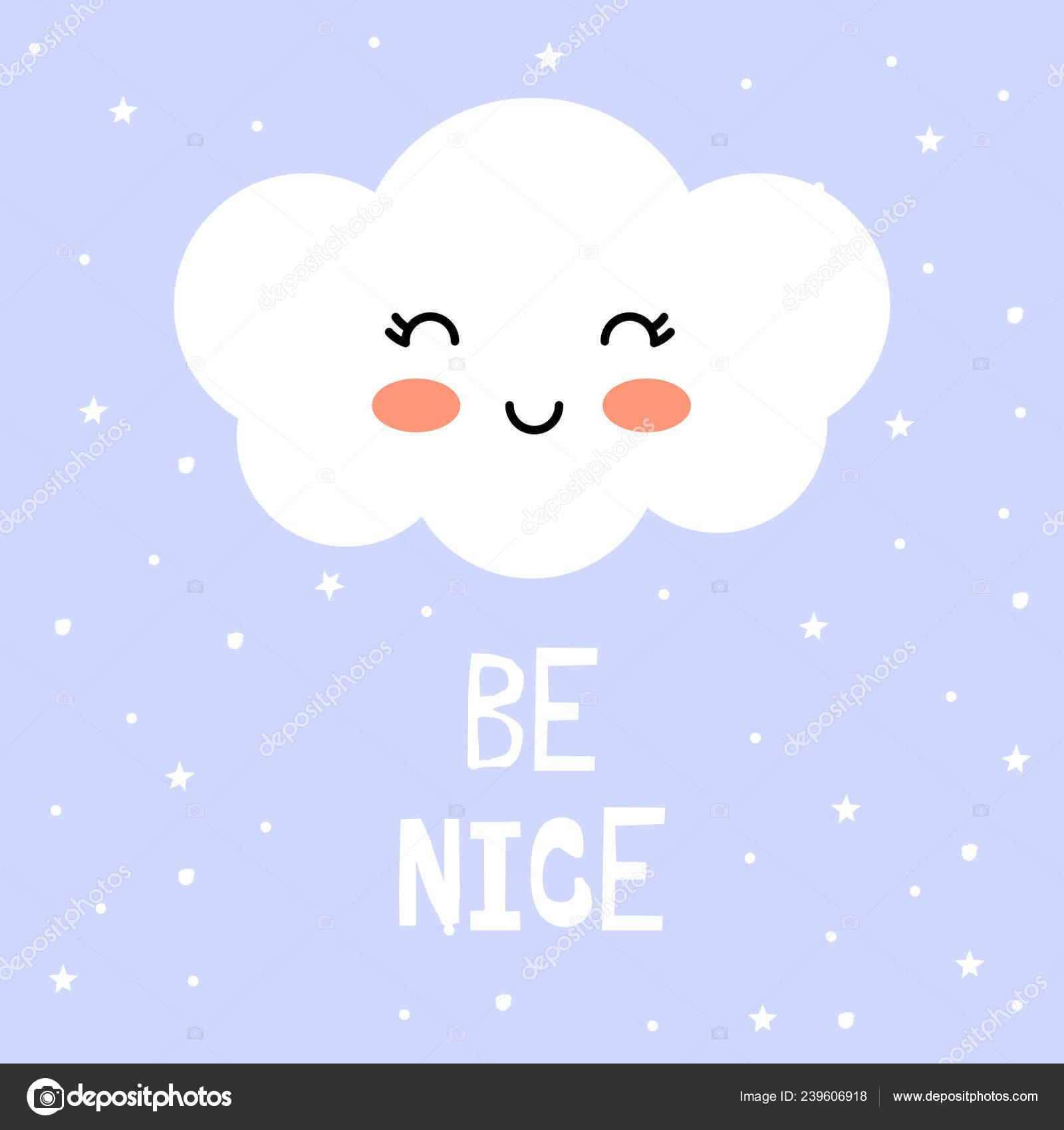Cute Cloud Cartoon Vector Print Icon Nice Vector Image By C Melanierom Vector Stock 239606918