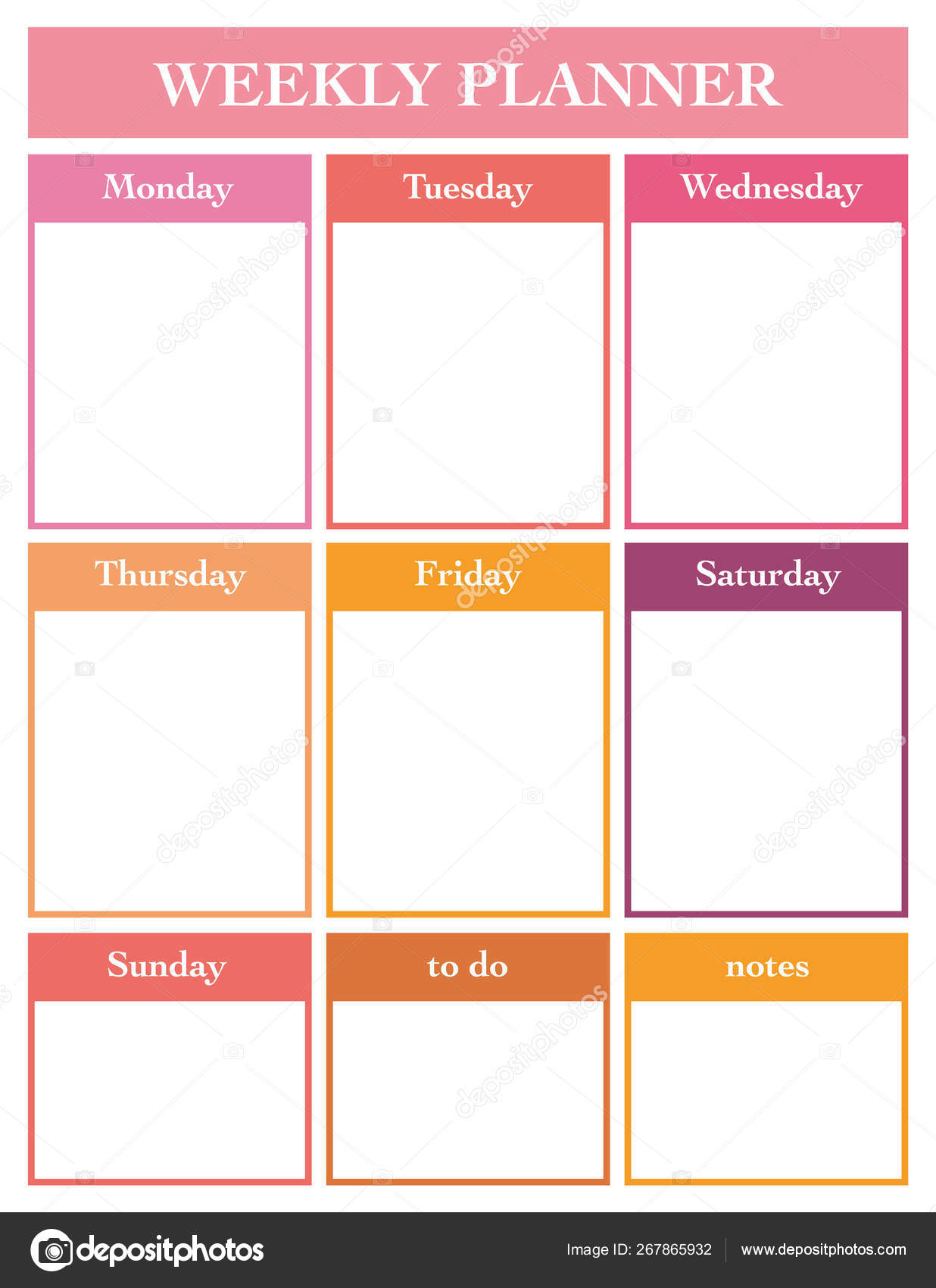 photo about Weekly Planner Page titled Weekly Planner Printable Web page Vector Template Diary Planners