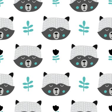 Nursery seamless pattern with skunk, Scandinavian style.Vector design for wrapping paper, textile.