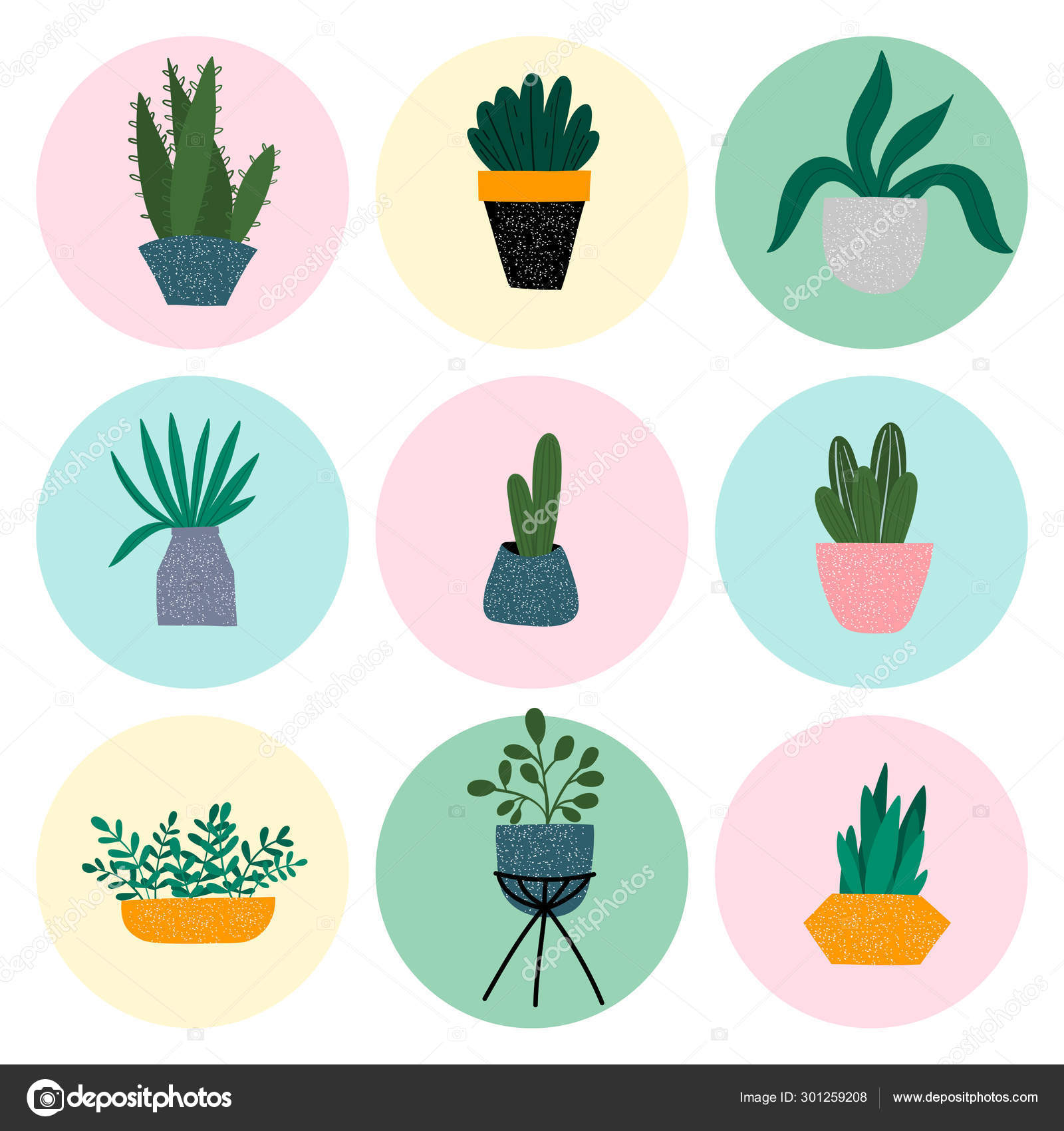 House Plants Colourful Hand Drawn Illustration Set Of Icons Cute Pots Cactuses And Succulents Isolated Cartoon Item In Scandinavian Style Vector Image By C Melanierom Vector Stock 301259208