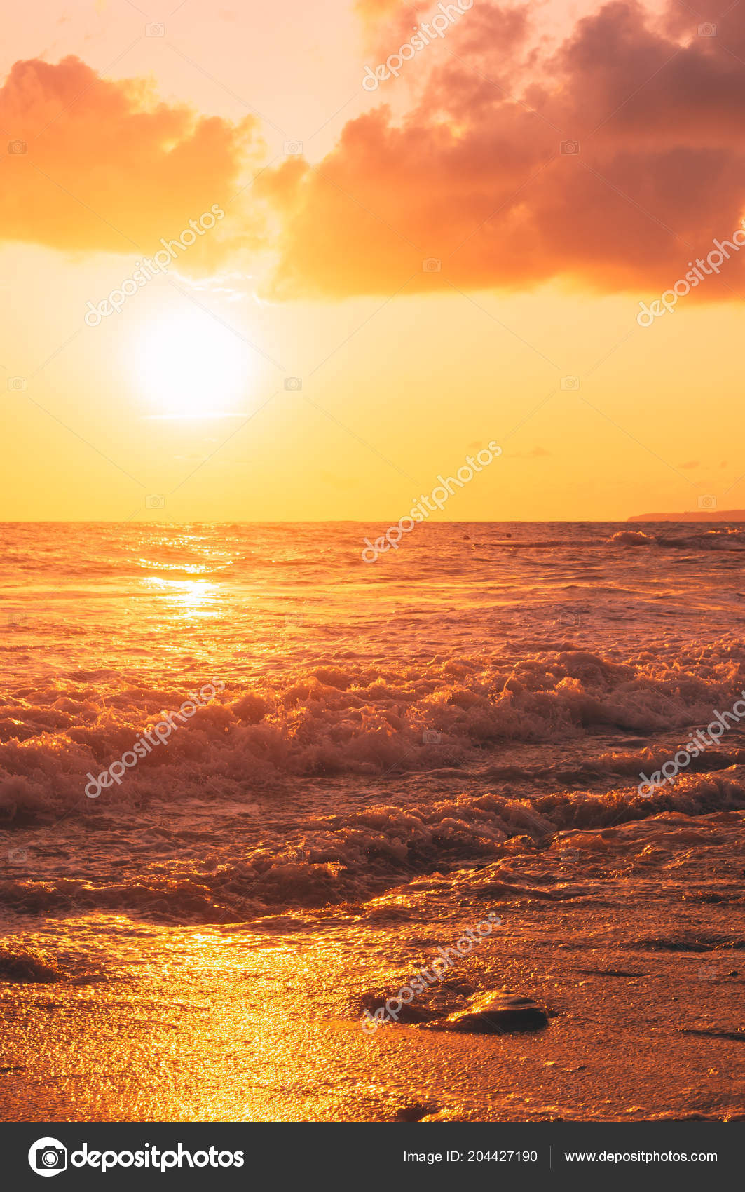 Coucher Soleil Mer été Soleil Les Vagues Les Nuages Bel
