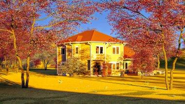American house in rural settings 3d rendering