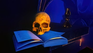 Human skull on old open book 3d rendering