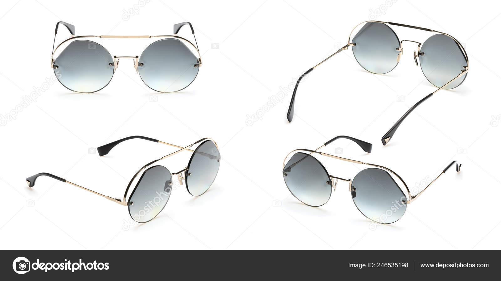 b17d9a501a Gafas de sol Retro sets en marco redondo aislado sobre fondo blanco.  Colección moda Vintage verano gafas de sol — Foto de ...