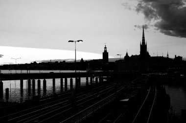 Panoramic view of Old Town in Sweden - Stockholm (Gamla Stan) in a summer night. Reflection