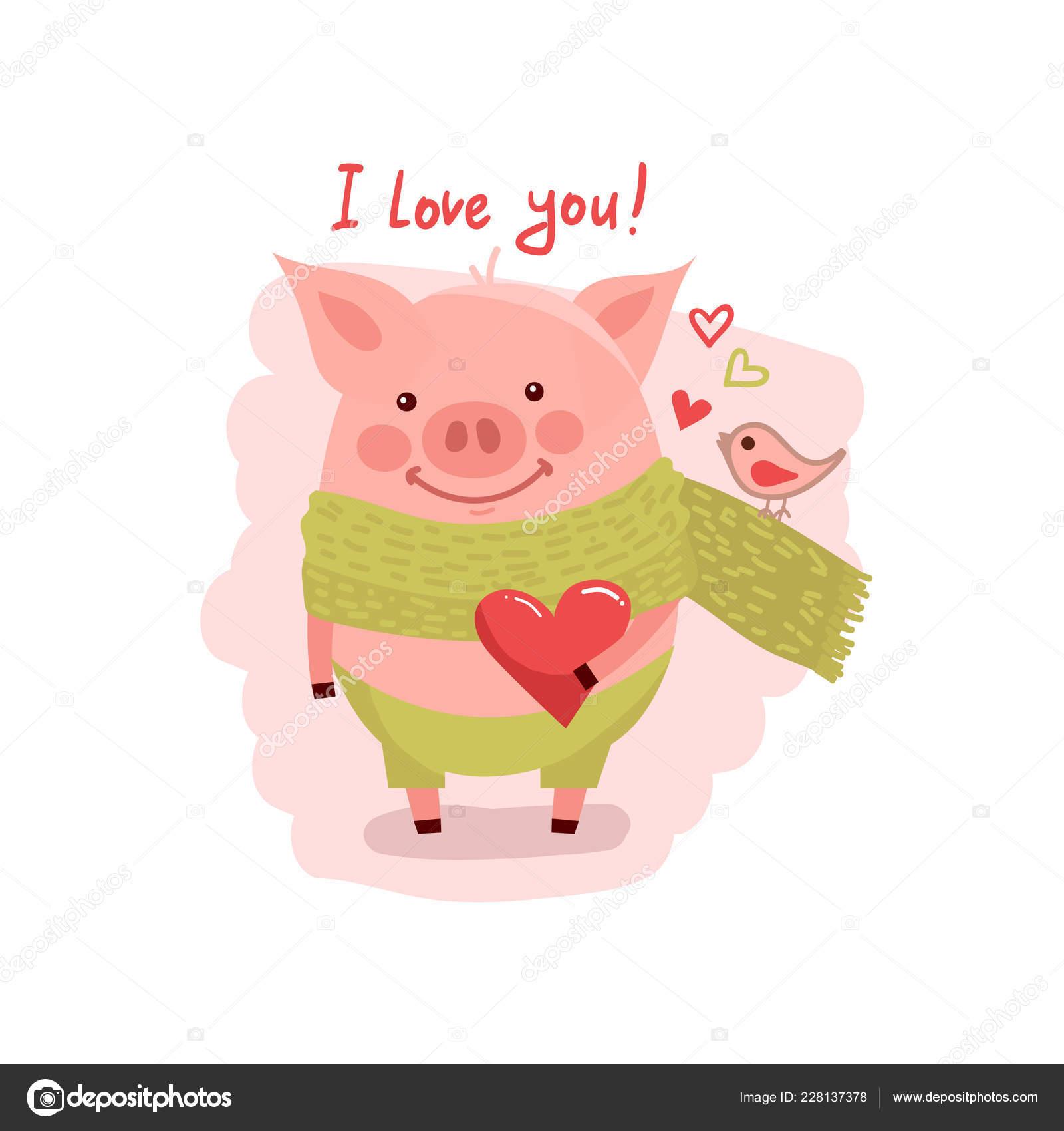 Illustration du cochon dessin anim mignon avec coeur - Dessin cochon mignon ...