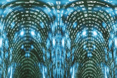 Blue matrix digital background. Distorted cyberspace concept. Characters fall down. Matrix from symbols stream. Virtual reality design. Complex algorithm data hacking. Cyan digital sparks.