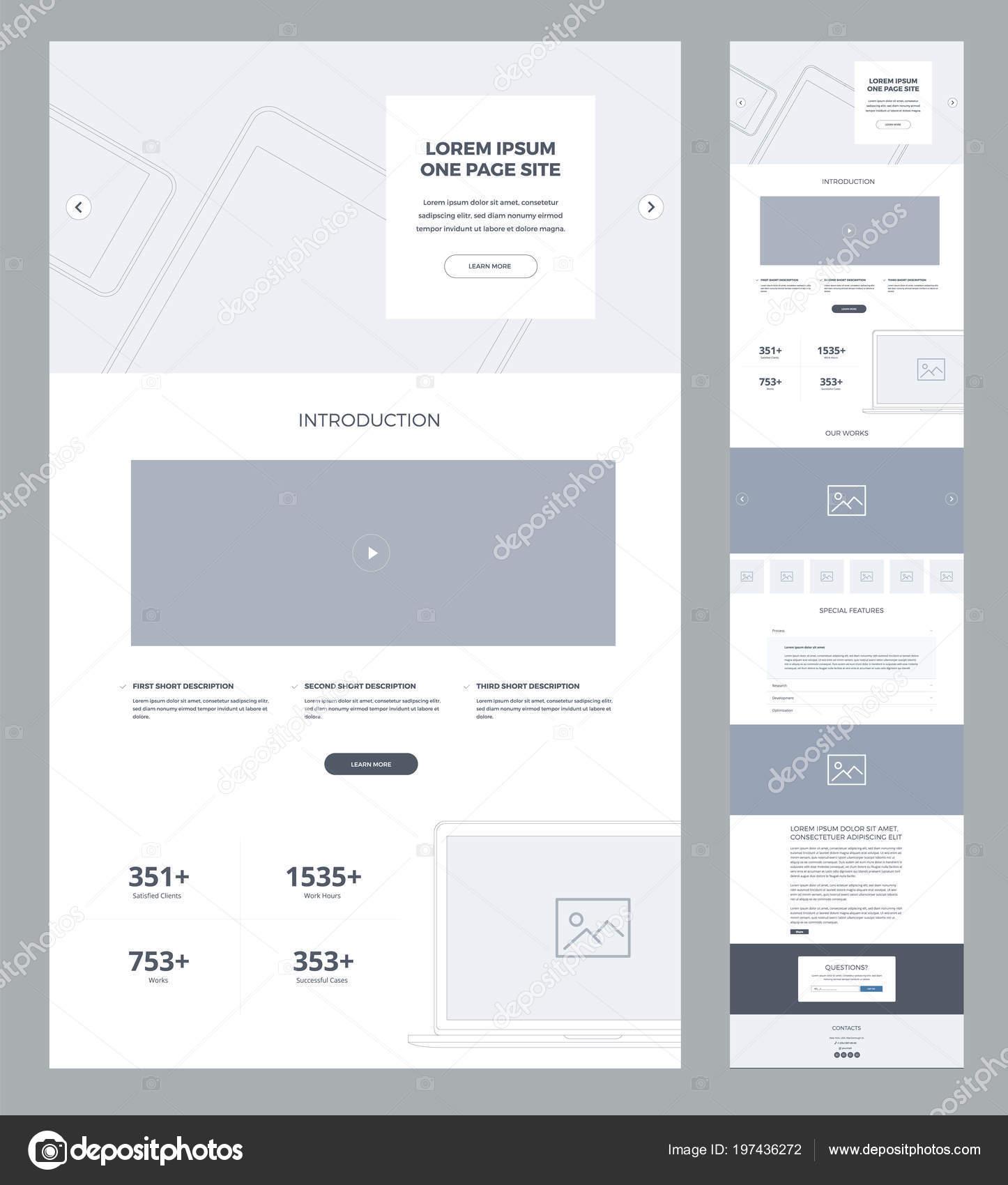 Plantilla Diseño Sitio Web Una Página Para Negocio Alambres Página ...