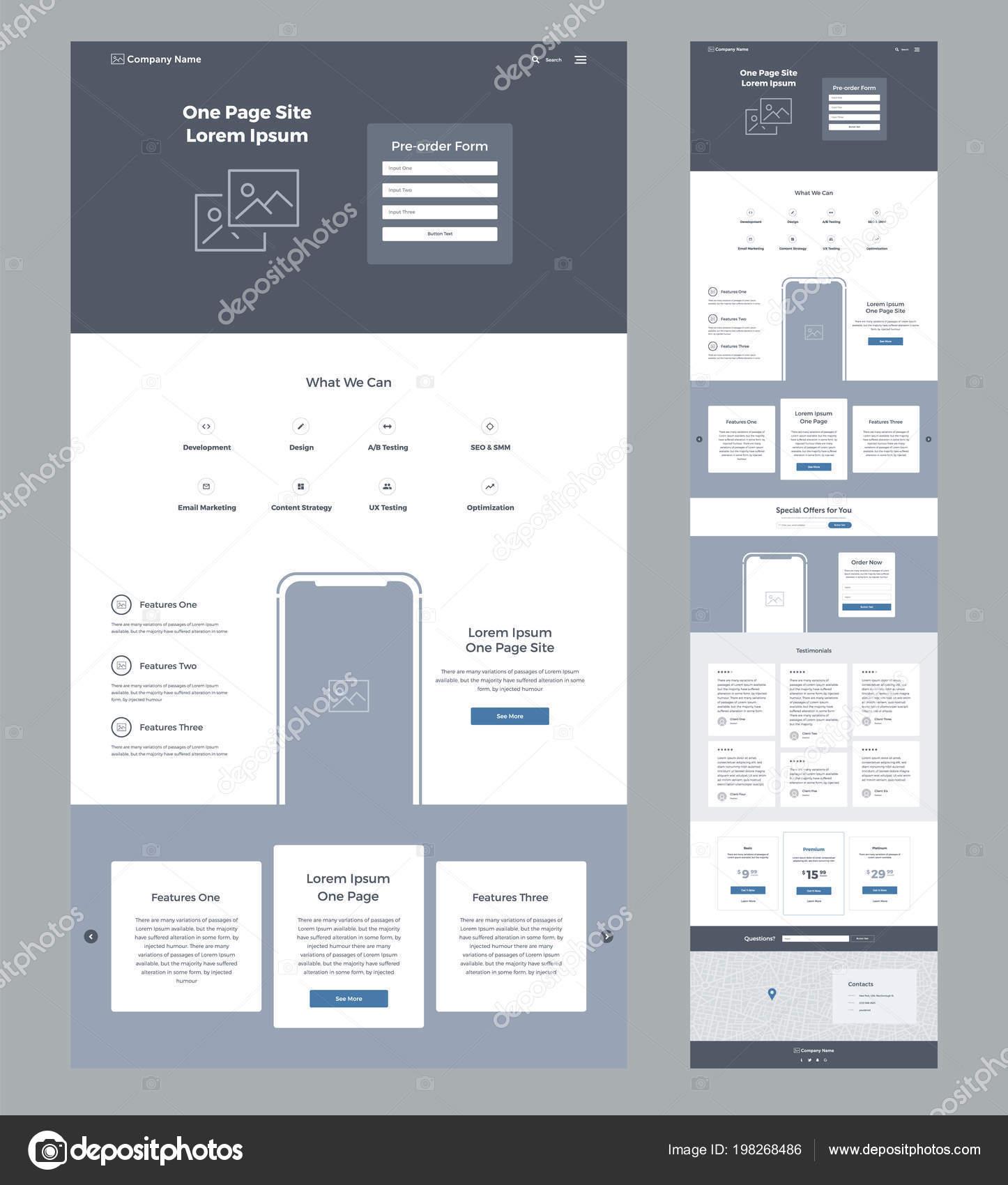 Eine Seite Website Design Vorlage Für Unternehmen Landung Seite
