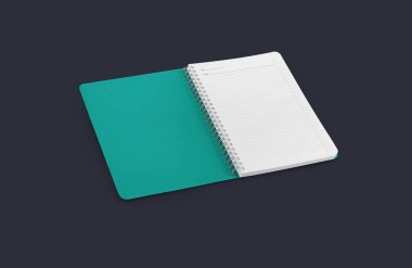 Notebook mockup for your design, image, text or corporate identity details. Vertical blank copybook with metallic silver spiral. Template of organizer or diary isolated on background. stock vector
