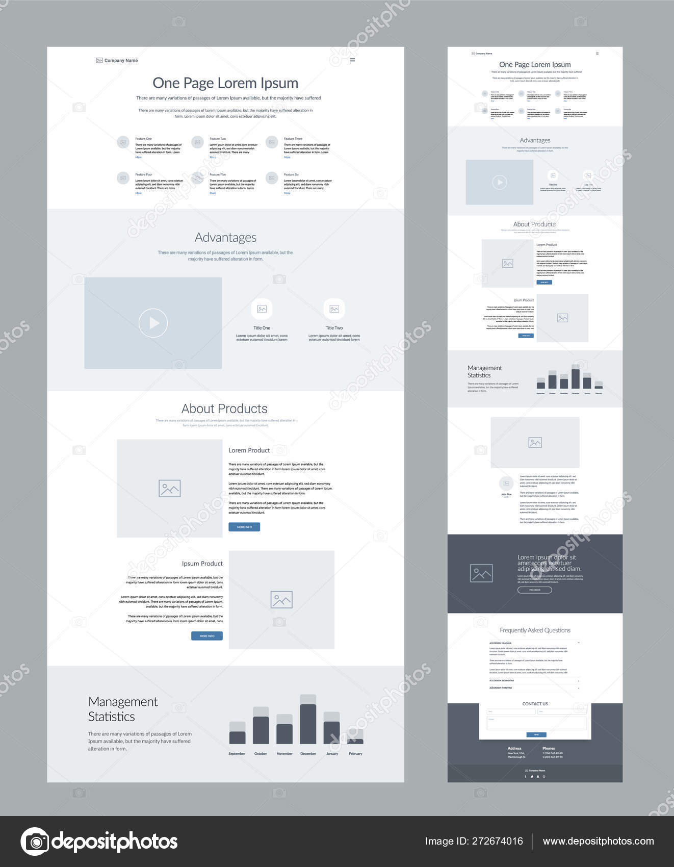 One Page Website Design Template Business Landing Page Wireframe
