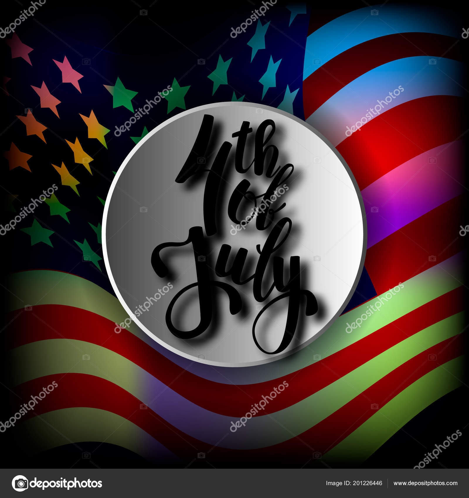 The Us Independence Day Greetings Postcard American Flag Lettering