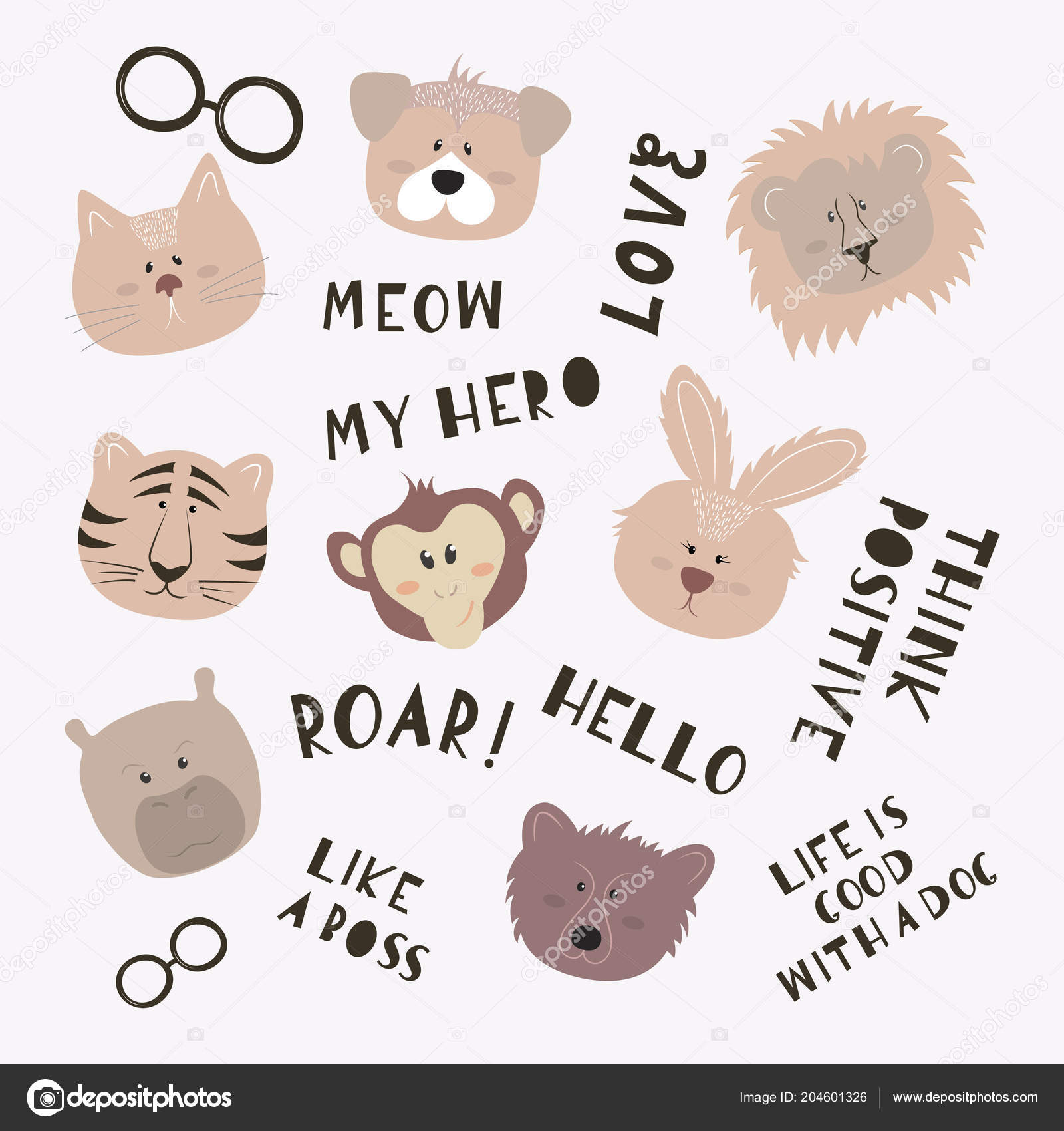 Conjunto Caras Animales Lindos Dibujos Animados Con Frases