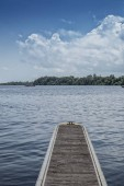 Panoramica of the Rio Zaire in Soyo with pontoon for boats. Angola.