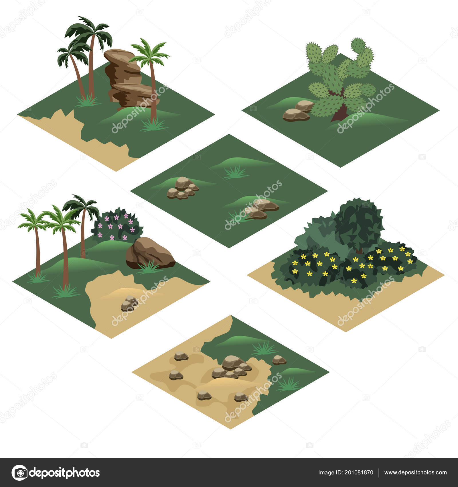 Beach Landscape Isometric Tile Set Cartoon Game Asset Create