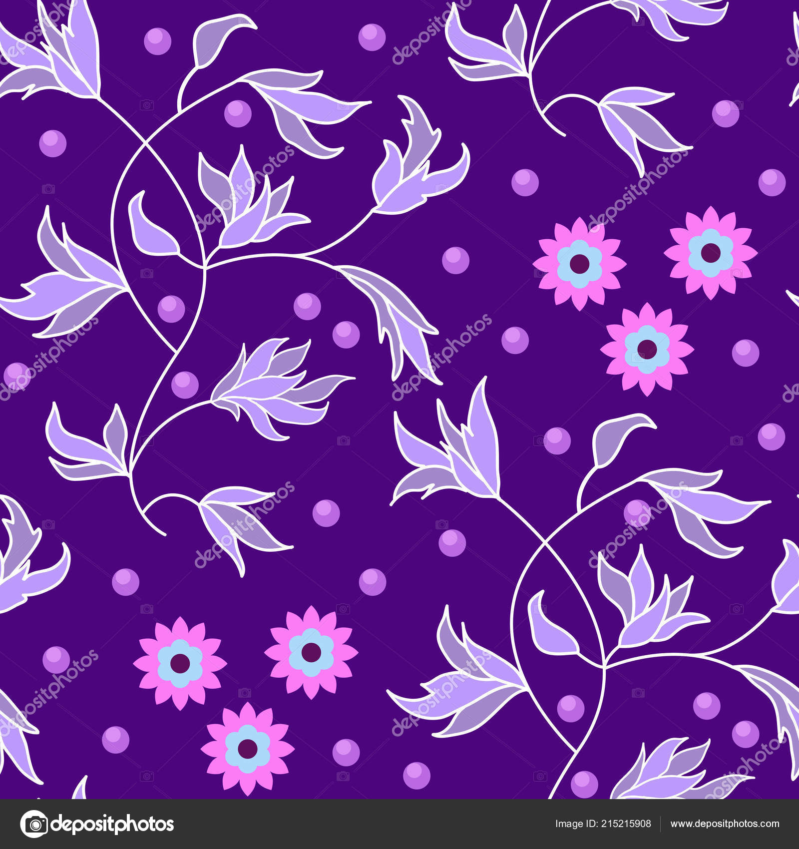 Abstract Floral Seamless Pattern Ornament Flowers Leaves