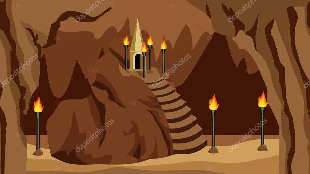Underground Cave Landscape Background For Cartoon Or Adventure Fantasy Game Asset For Level Design Underground City Of Dark Elves Or Gnomes Mysterious Night Cave Realm Vector Illustration Premium Vector In Adobe