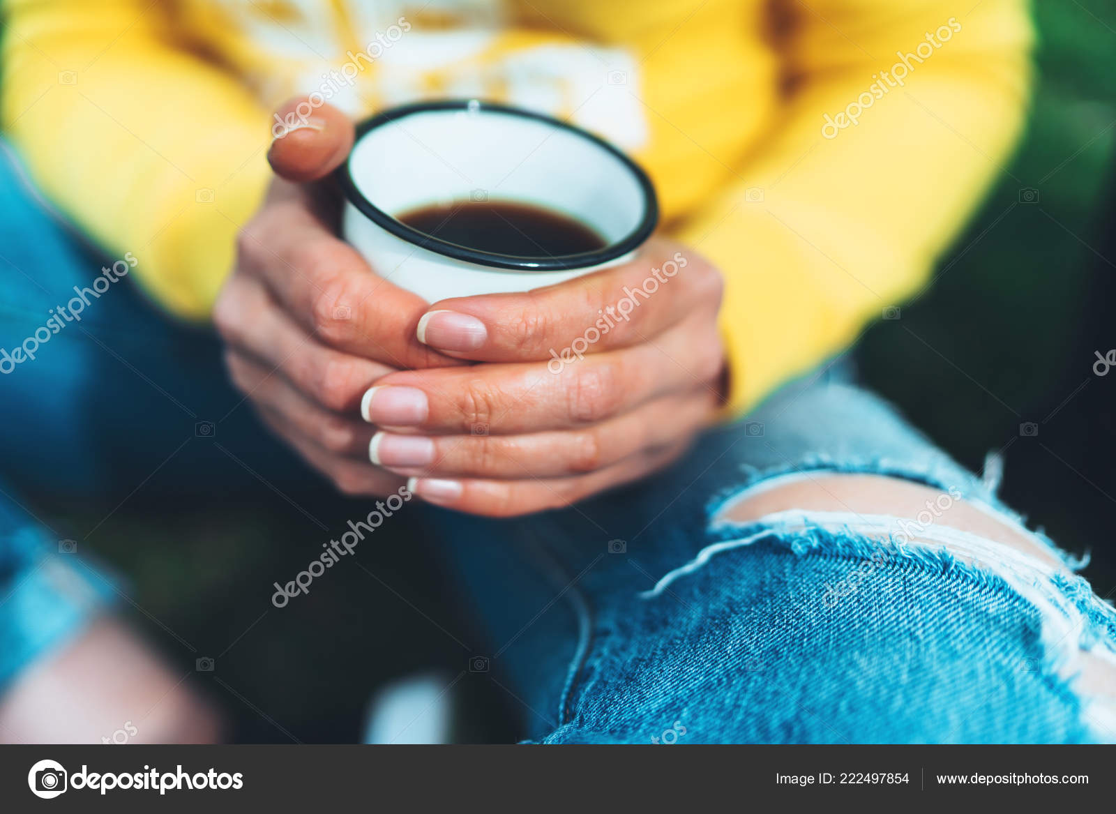 Girl Holding Hands Cup Hot Tea Yellow Backgroung Outdoors