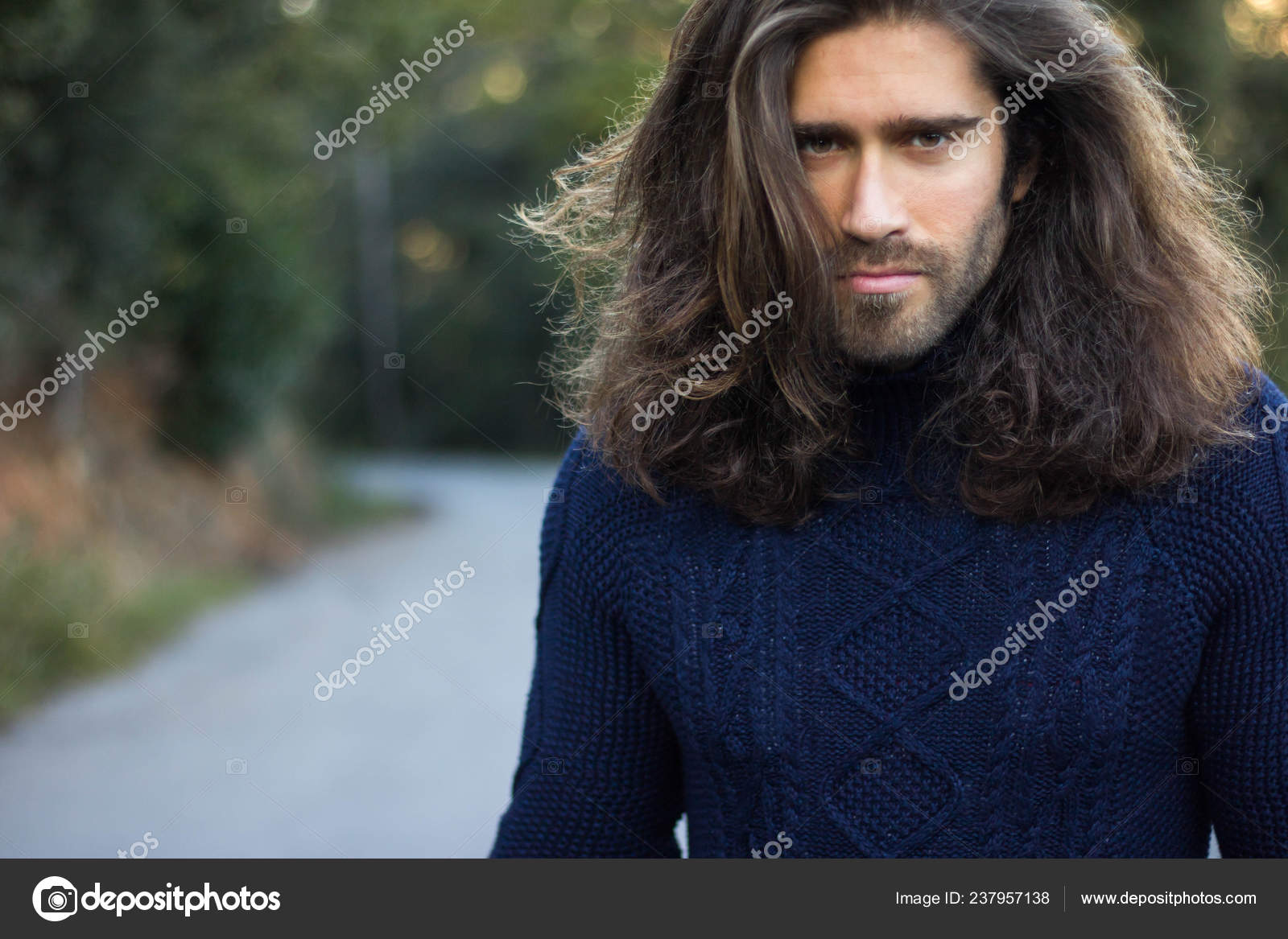 Close View Portrait Beard Hipster Man Long Dark Hair Stock Photo Image By C Marcjulsmail Gmail Com 237957138