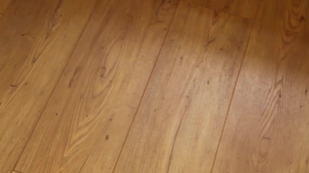 Kamera se pohybuje po podlaze, pokrytý vrstvené parkety s hnědá dřevěná textura.