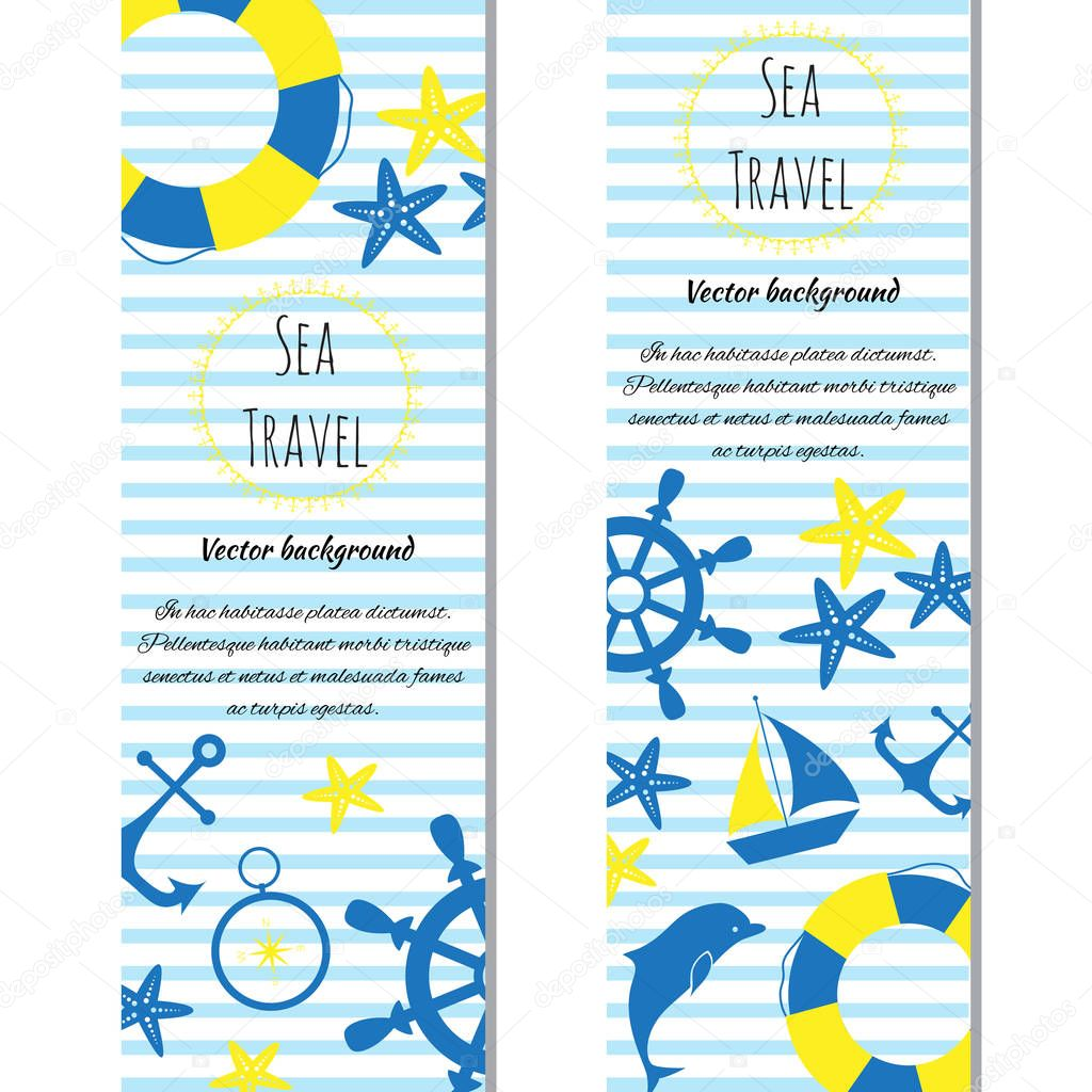 Set of banners sea journey with logo. Doodle vector illustration.