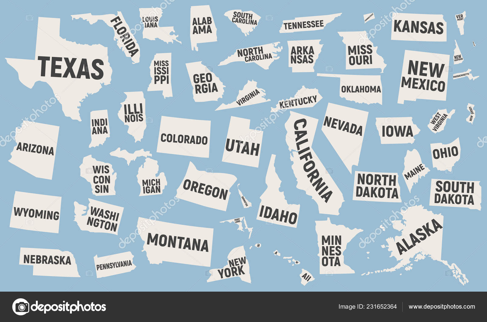 United States America Icons Set Map State Icons Names ...