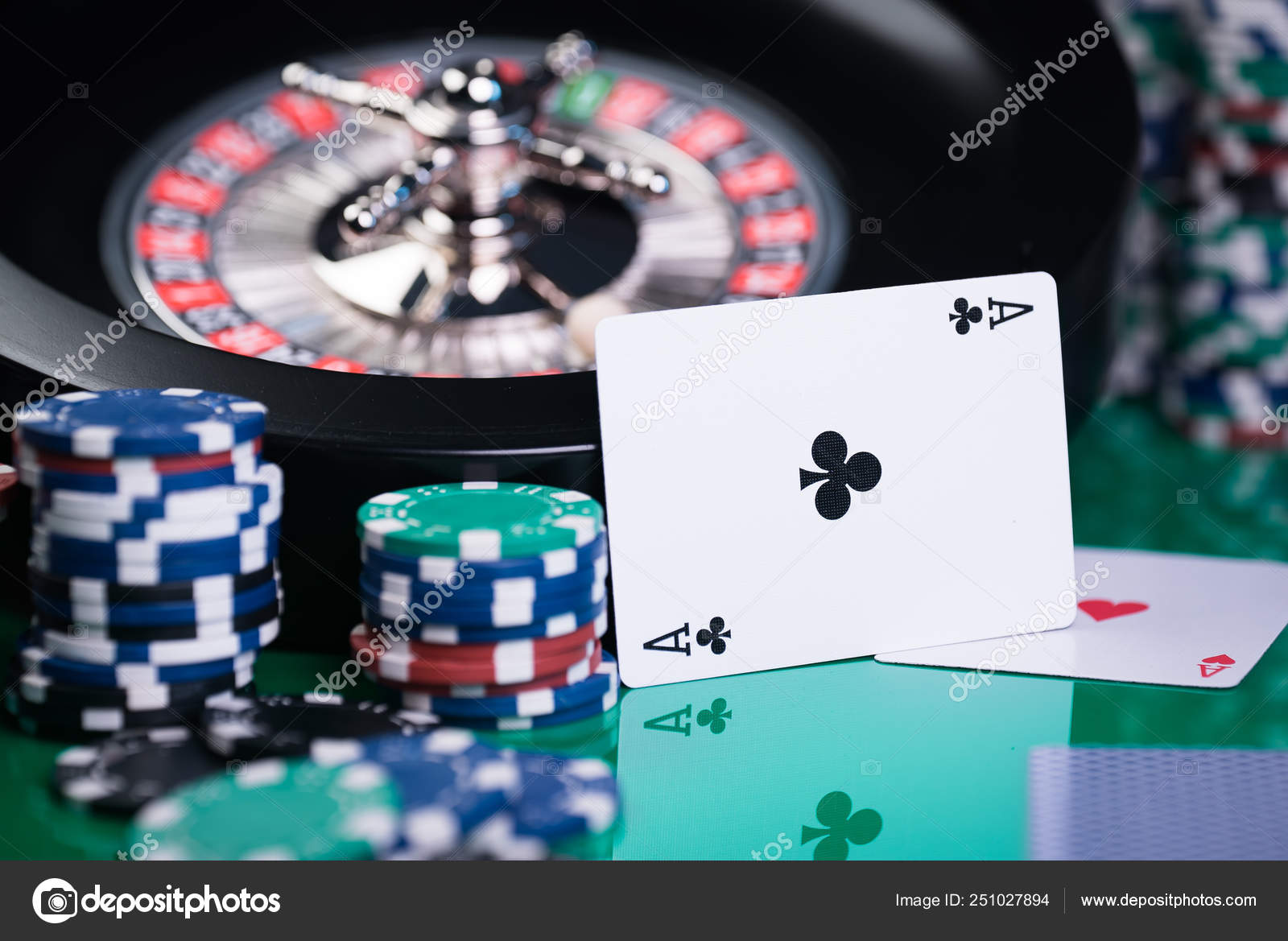 Casino Background Poker Chips Cards Gaming Table Roulette Wheel Motion Stock Photo Image By Aerialmike 251027894
