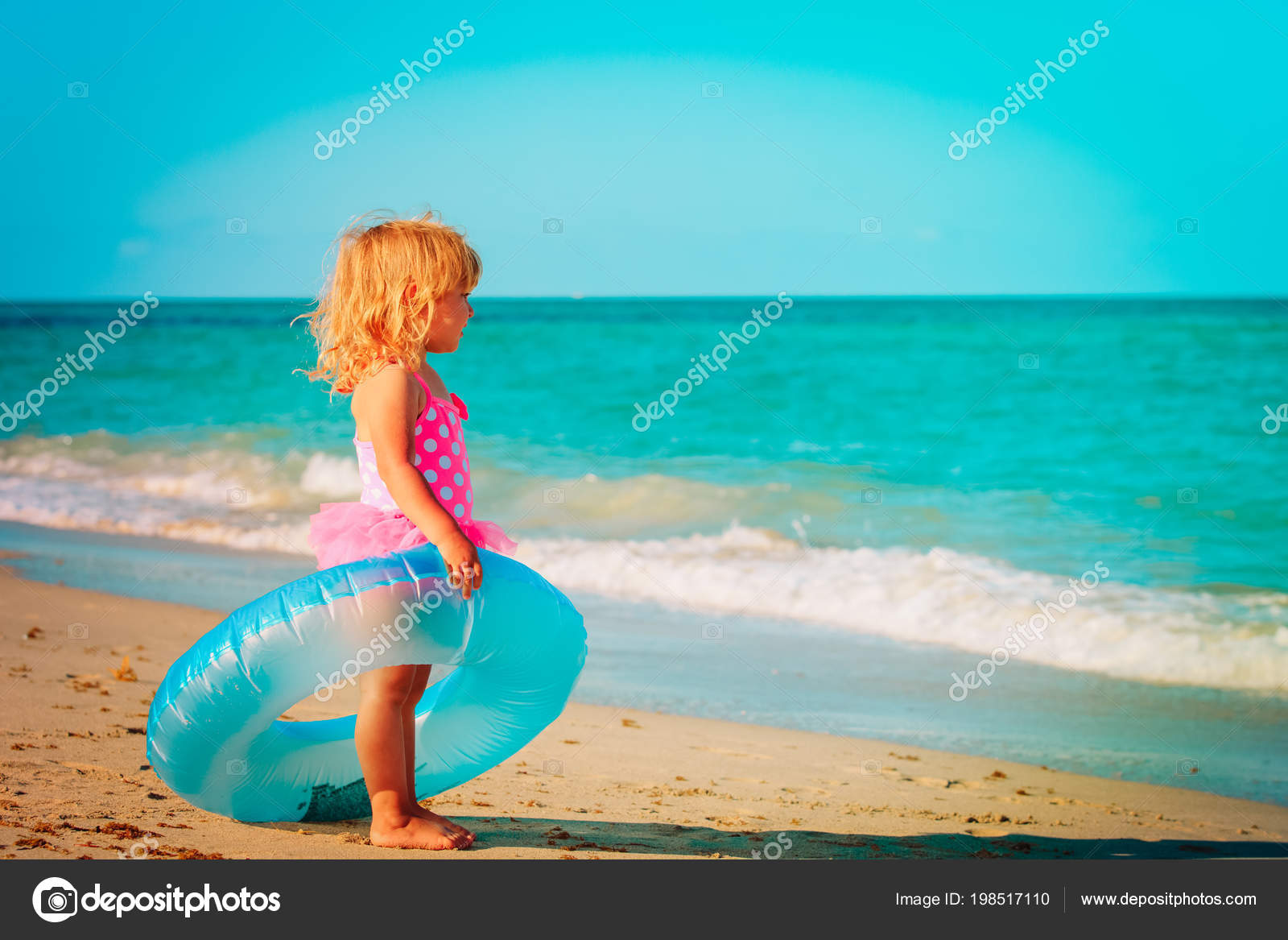 97c004e5e8a Cute little girl with tube go swim at tropical beach, vacation concept —  Photo by Nadezhda1906