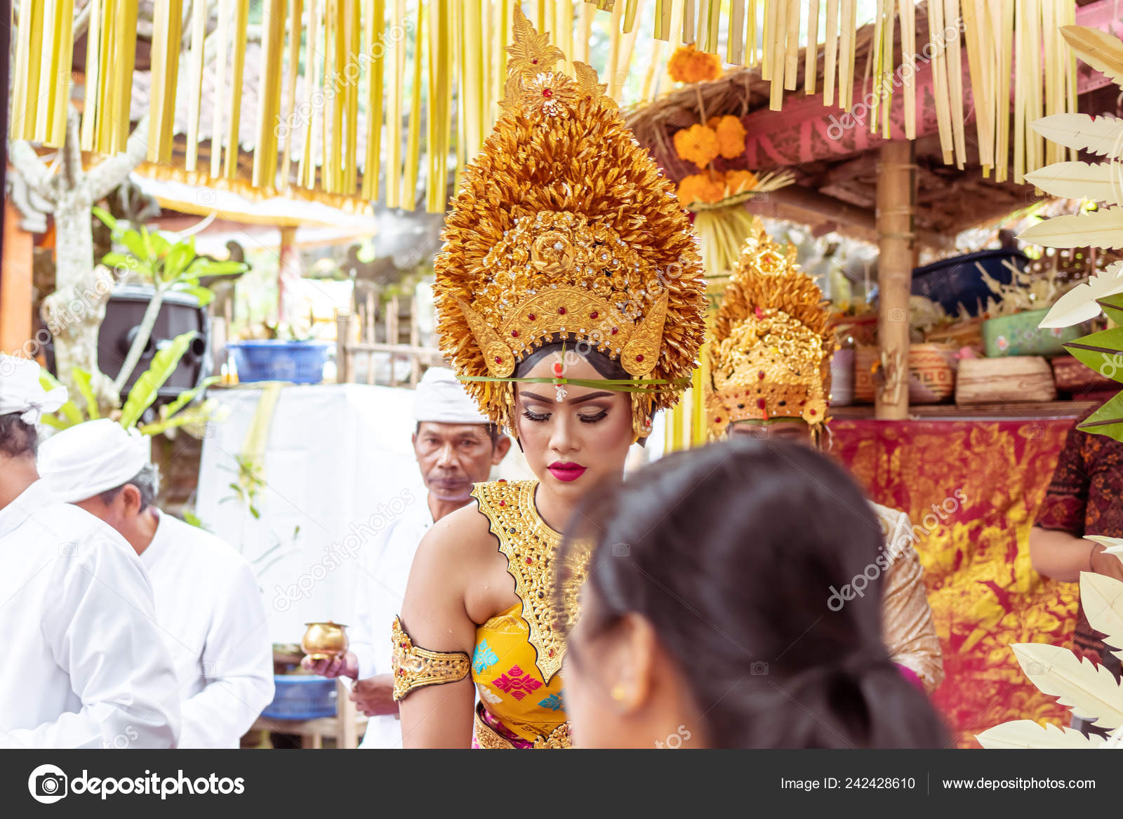 Bali Indonesia January 2 2019 People On A Traditional