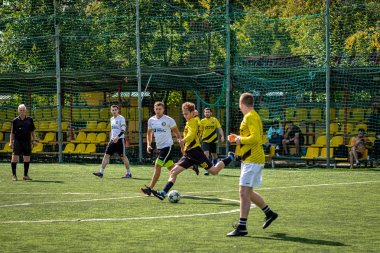 MOSCOW, RUSSIA - AUGUST 24, 2019: Soccer players in game. Amateur league in Moscow.