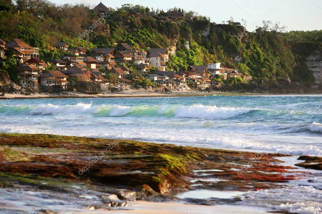 Most popular surfing areas Dreamland beach on Bali, Indonesia