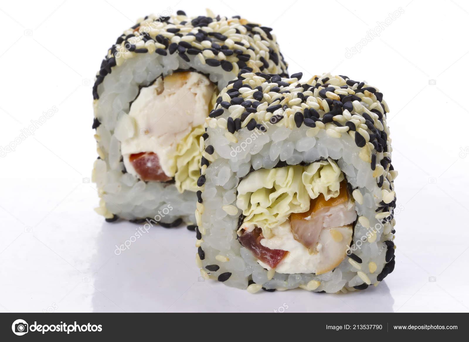 Sushi Rolls Japanese Food Isolated White Background Menu