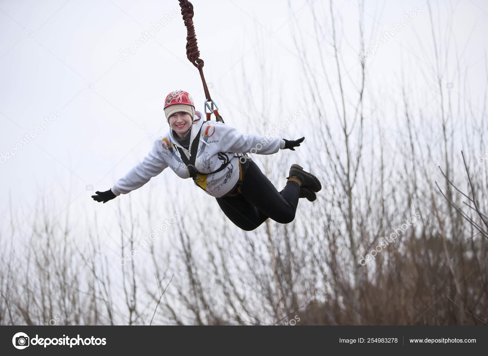 Belarus Gomel March 2019 Jumping Bridge Rope Ropejumping