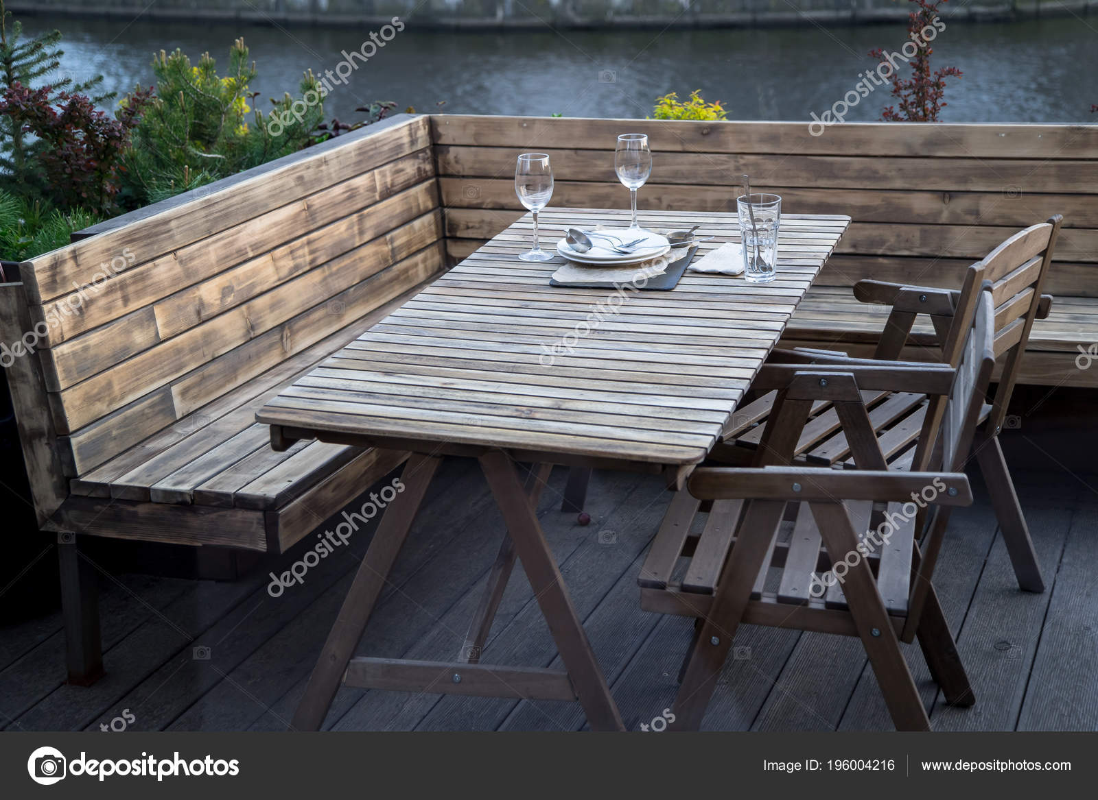 Outdoor Restaurant Terrace Made Wood Scandinavian Style Stock Photo C Asinskki 196004216