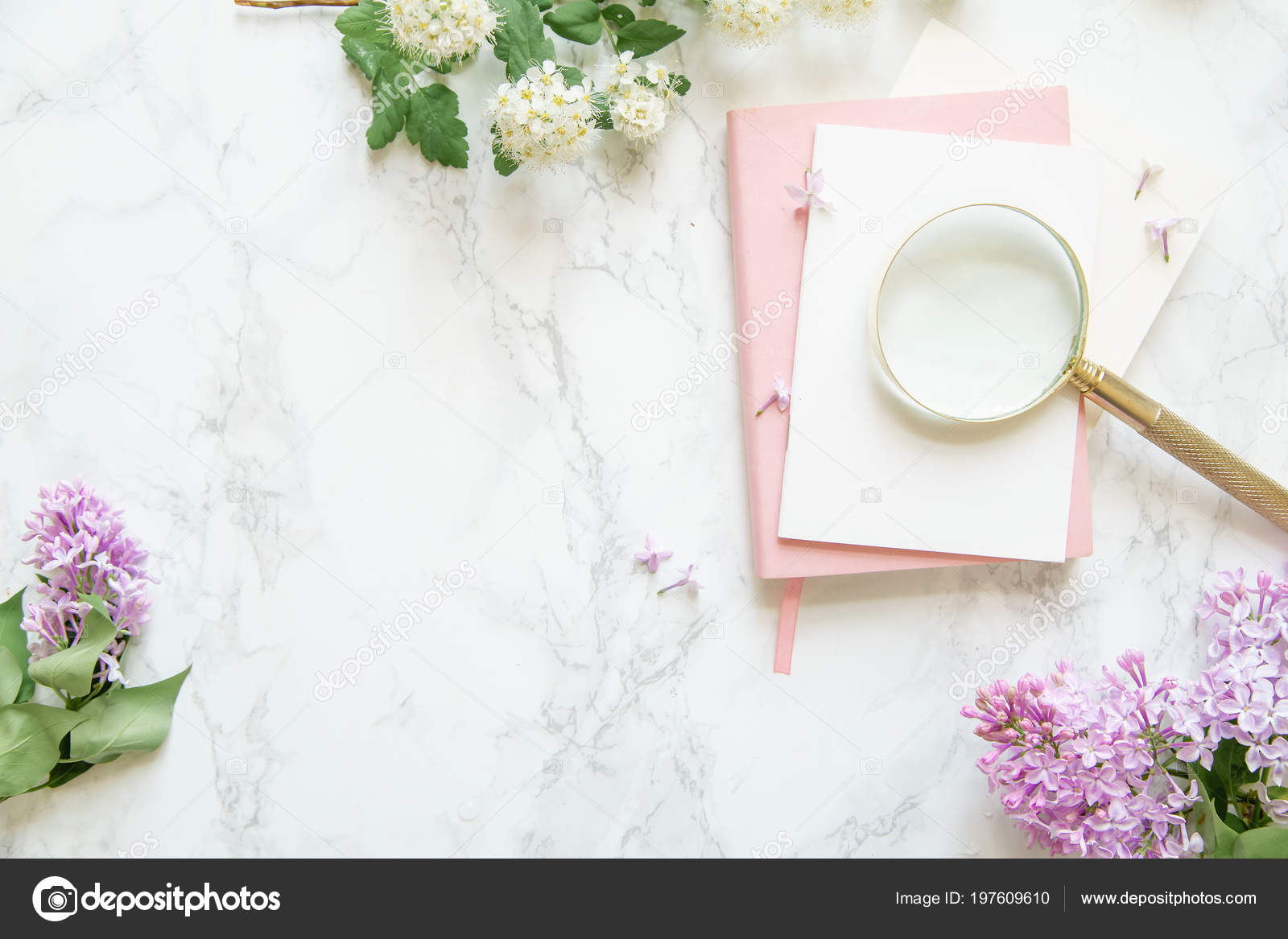 Pink Notebook Cards White Lilac Flowers Golden Magnifier Marble