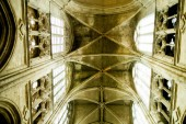 splendid interior of old Gothic cathedral dome