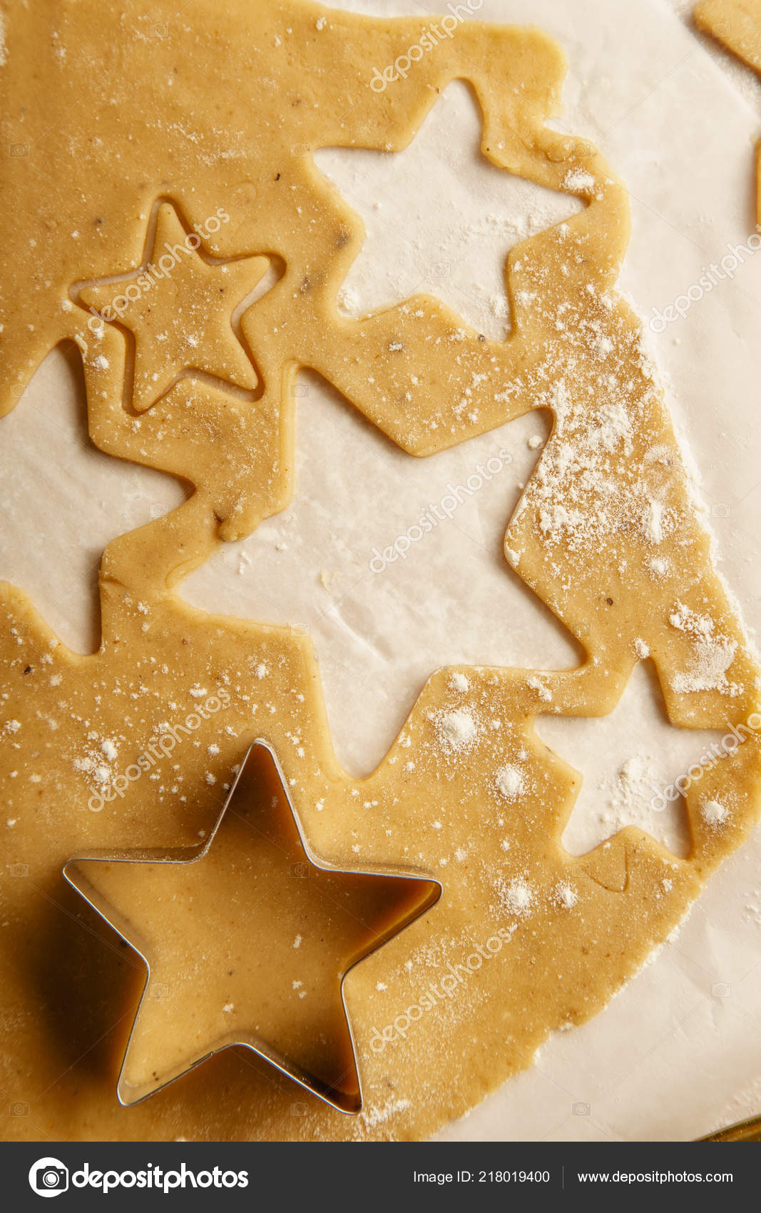 Cooking Swedish Ginger Cookies Star Shapes Christmas Concept Stock