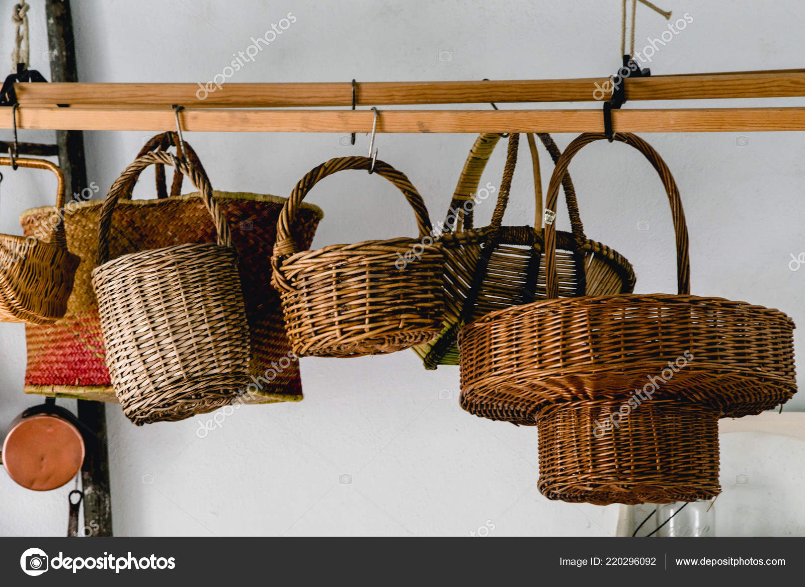 Straw Wicker Baskets Hanging Kitchen — Stock Photo ...
