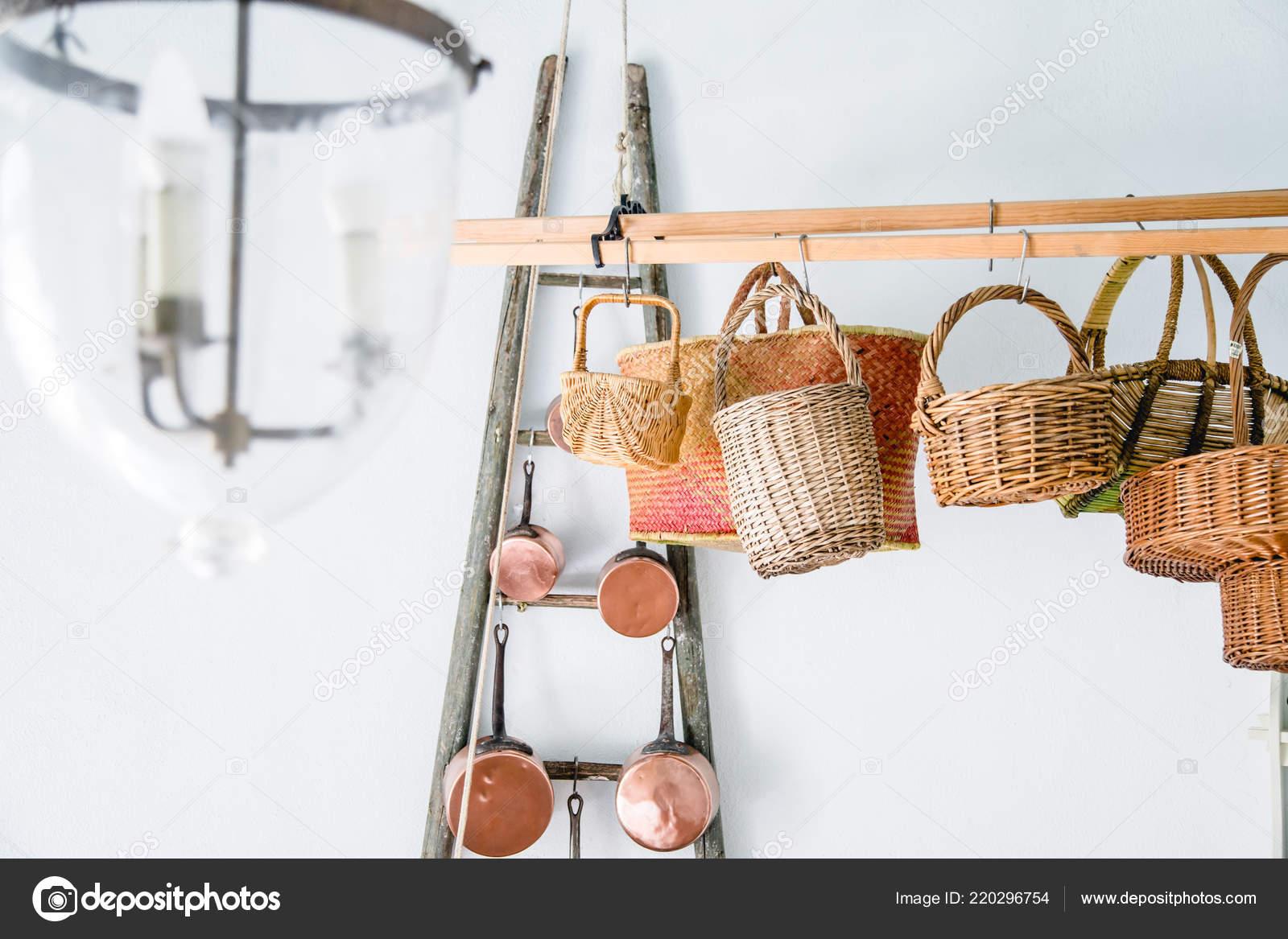 Copper Kitchen Saucepans Baskets Hanging Racks White Wall Stock Photo Image By C Asinskki 220296754