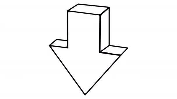 Arrow Down whiteboard animation 4K footage