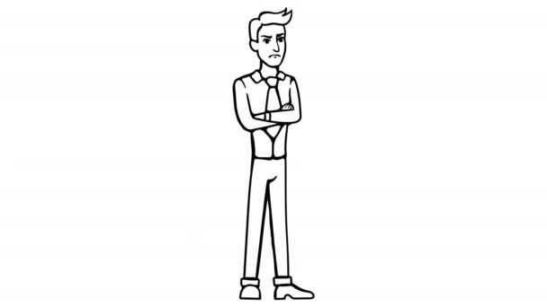 Man Angry whiteboard animation 4K footage