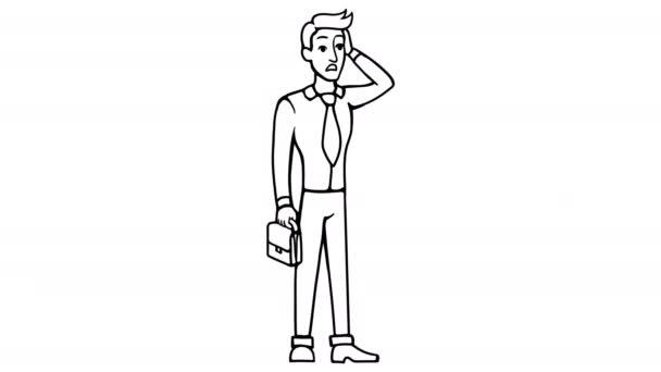 Man Shock whiteboard animation 4K footage