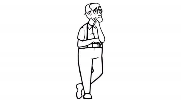 Děda myslel, že Whiteboard animace 4k záběry s alfa kanálem