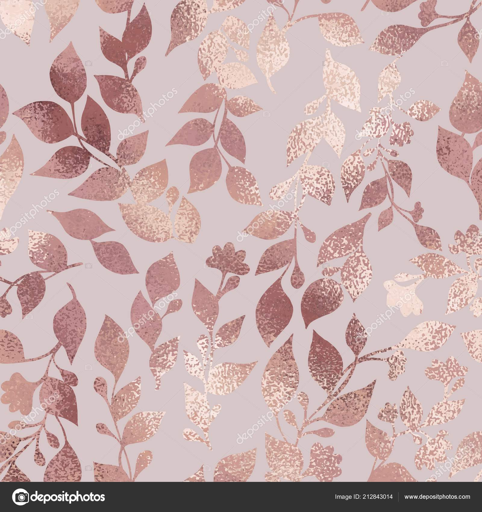 Rose Gold Elegant Texture Floral Pattern Design Invitations Cards