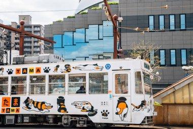 Okayama, Japan - April 15, 2019 : Tram on a street